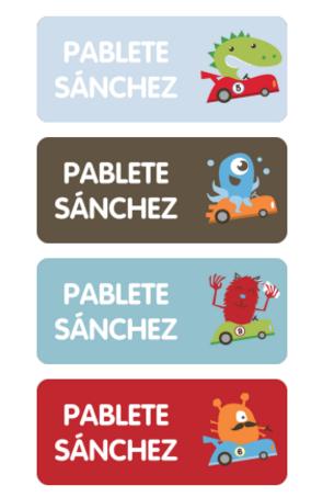 Etiquetas Identificativas - Kids Designer- Etiquetas para el  colegio _ Stuck on MONSTRUOS